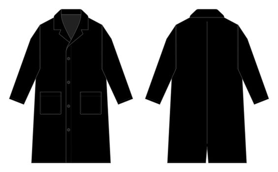 Long coat, trench coat vector template illustration / black