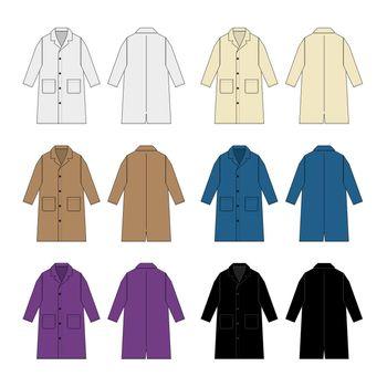 Long coat, trench coat vector template illustration set