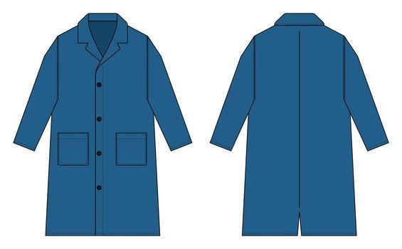 Long coat, trench coat vector template illustration / blue