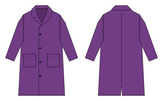 Long coat, trench coat vector template illustration / purple