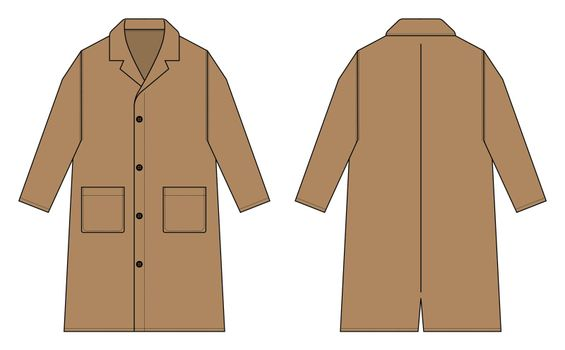 Long coat, trench coat vector template illustration / brown