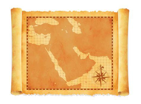 Old vintage middle east ( western asia ) map vector illustration