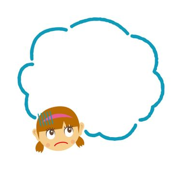 Girl's face and speech bubble template illustration (unhappy, anxiety, impatient )