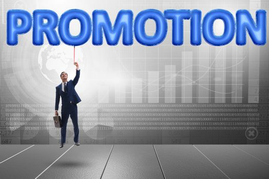 Businessman flying in promotion concept