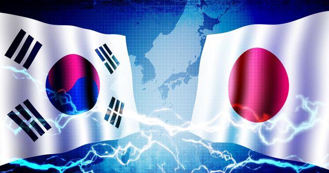 Political confrontation between South korea and Japan / web banner background illustration