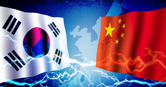 Political confrontation between South korea and china / web banner background illustration