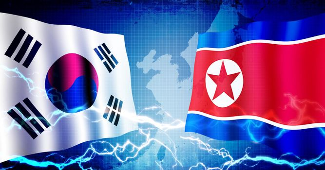 Political confrontation between South korea and North korea / web banner background illustration
