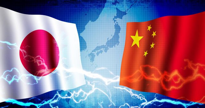 Political confrontation between Japan and China / web banner background illustration