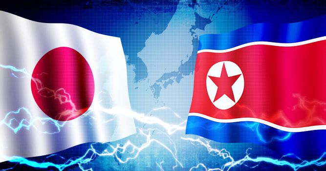 Political confrontation between Japan and North korea / web banner background illustration