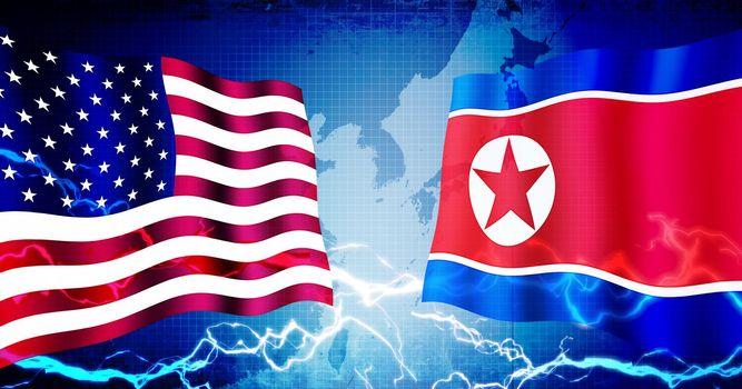Political confrontation between USA and North korea / web banner background illustration