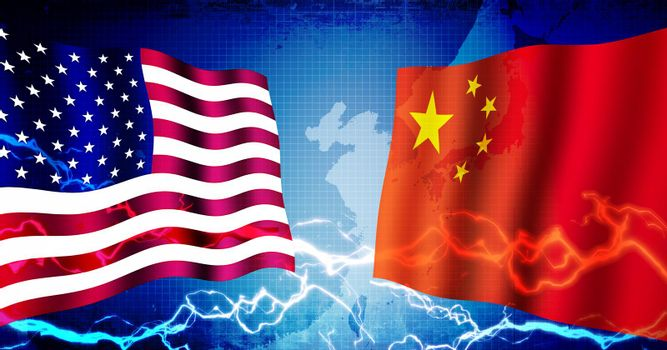 Political confrontation between USA and China / web banner background illustration
