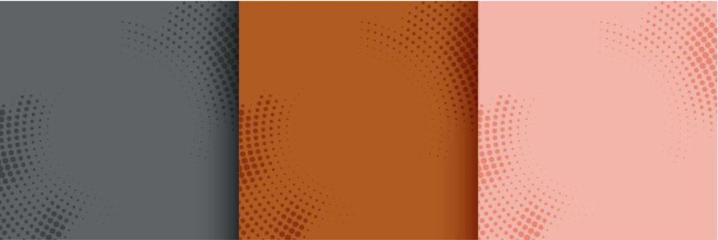 abstract circular halftone background set of three