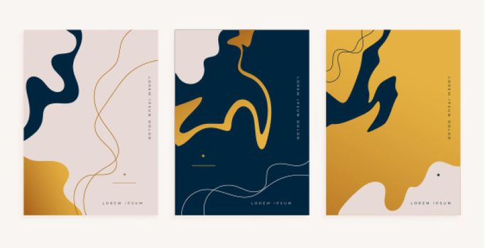 abstract golden fluid lines style minimal poster design