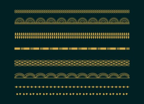 decorative ethnic boho borders pattern design set