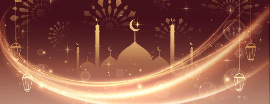 eid mubarak beautiful lights banner design