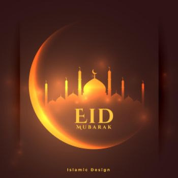 eid mubarak glowing banner with crescent moon and mosque