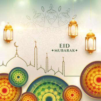 eid mubarak greeting design realistic background