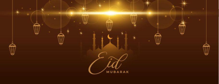 eid mubarak sparkling banner with lanterns