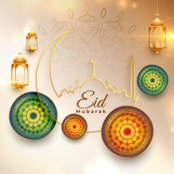 eid mubarak traditional festival wishes card design