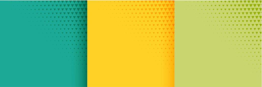 halftone bright background set of three