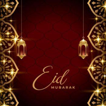 eid mubarak golden sparkling background design