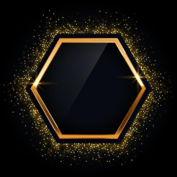 hexagonal golden frame with glitter background