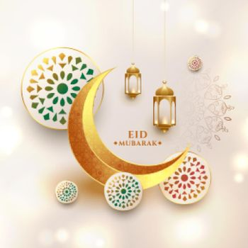 realistic eid mubarak wishes card with crescent moon