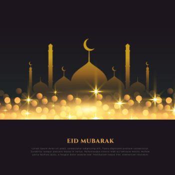 religious eid mubarak festival golden background