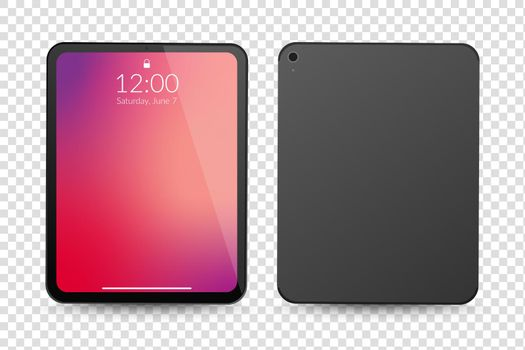Tablet computer front and back side. Vector realistic mock up. Vertical empty gadget screen with shadow.