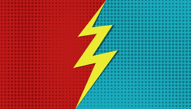 Comic versus superhero background. Vector cartoon VS halftone bolt template. Vector illustration pop art style.