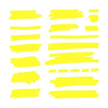 Yellow highlight lines. Japan highlighter marker stripes. Vector hand drawn color shapes