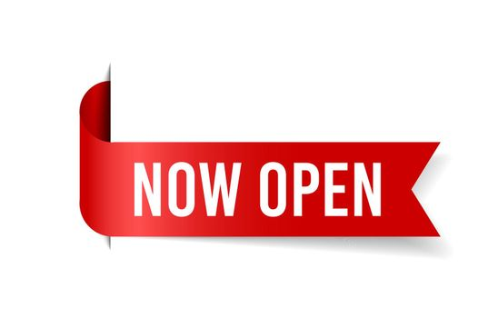 Now open tag. Glossy red ribbon. Vector grand opening flyer.