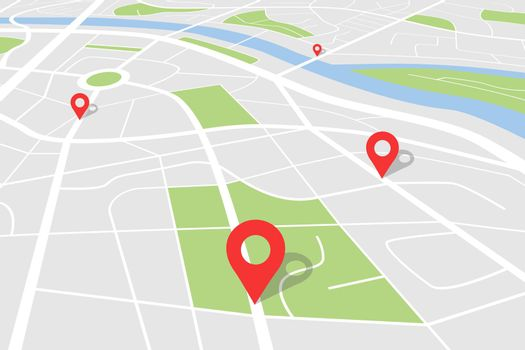 City map with location. Vector town plan with pin for gps route. Cartography backround red navigation pointers
