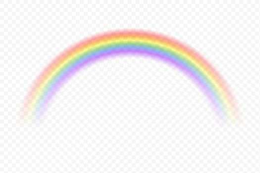 Realistic rainbow sky. Vector magic spectrum color after rain on transparent background. Fantasy summer decorative element.