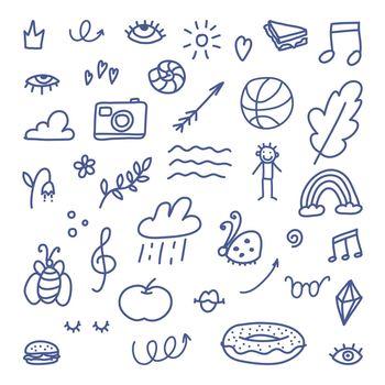 Doodle elements. Highlight marker text shape. Vector hand drawn cute decoration sign. Undrrline cartoon graffiti design icon set.