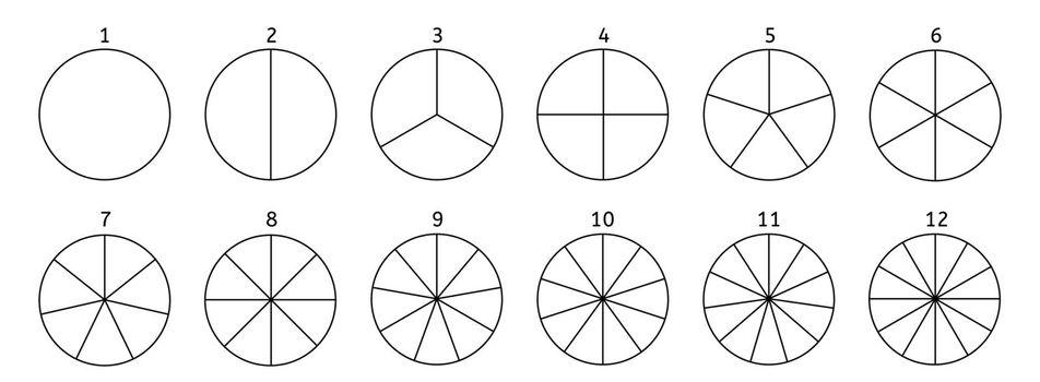 Divide circle diagram. Black segment element. Vector round 12 section.