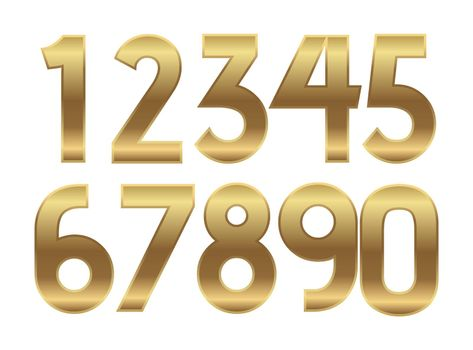 Gold numbers. Metal golden fashion alphabet. Vector realistic 123 text illustrations.