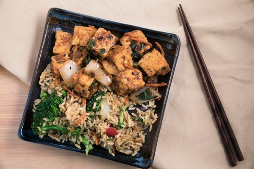 Tofu and Fried Rice Dinner