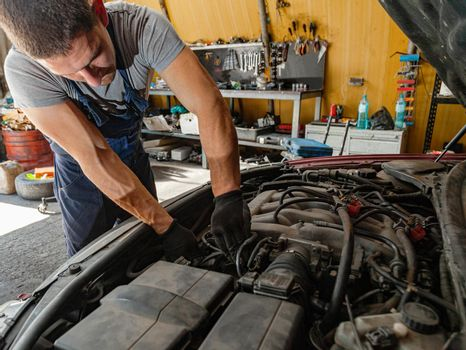 Car Engine Repair Technician Mechanic Shop Worker