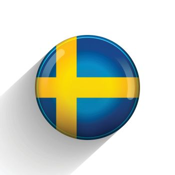 Glass light ball with flag of Sweden. Round sphere, template icon. Swedish national symbol. Glossy realistic ball, 3D abstract vector illustration highlighted on a white background. Big bubble