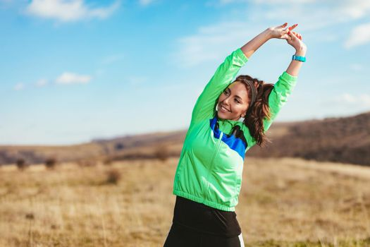 Runner Girl Stretching