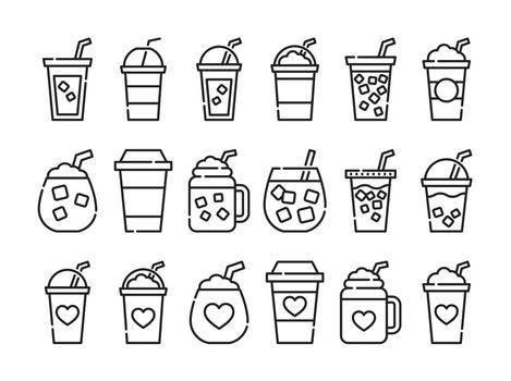 Iced coffee cup icon. Thin line coffee mug.