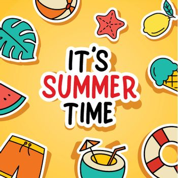 It's summer time background. Summer banner colorful tropical elements design.