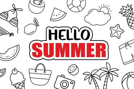 It's summer time background. Summer banner tropical elements design.