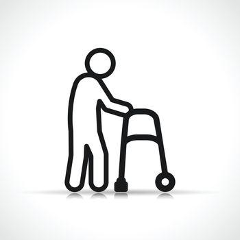 Vector disability walker symbol icon