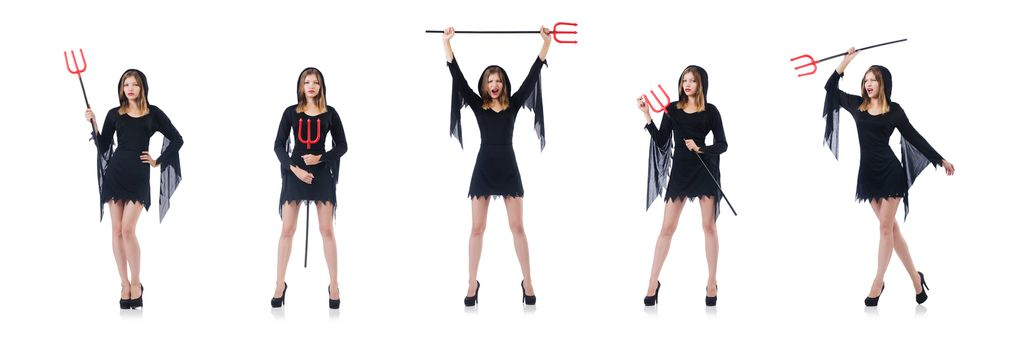 Woman devil with trident isolated on white
