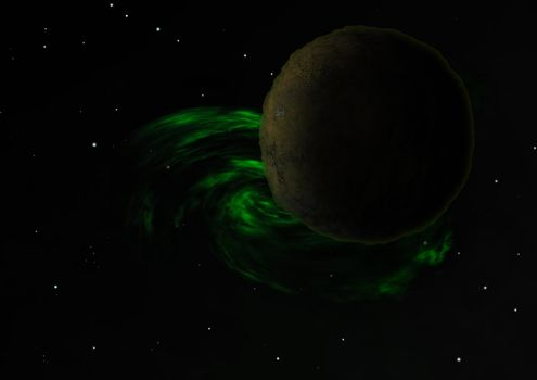 Planets in a space against stars and nebula.