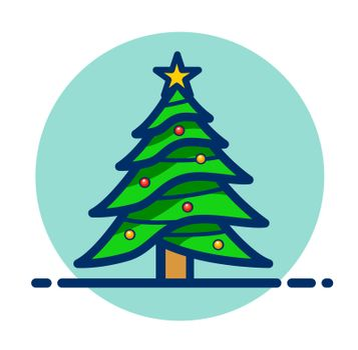 Vector christmas tree clipart icon
