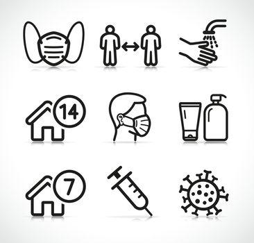 Vector epidemic instructions icons set