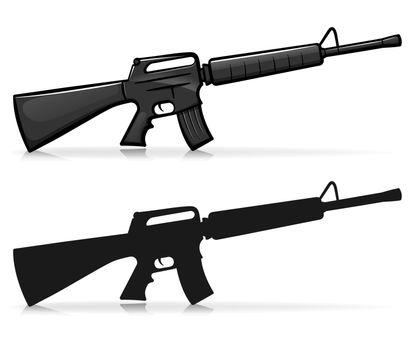 Vector kalasnikov army firearm illustration